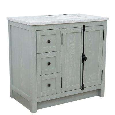 37 in. W x 22 in. D x 36 in. H Bath Vanity in Gray Ash with White Marble Vanity Top and Right Side Rectangular Sink