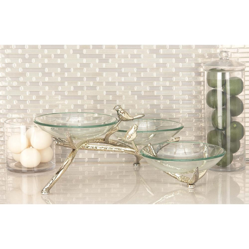 9 in. x 22 in. Three Green Glass Bowls on Silver