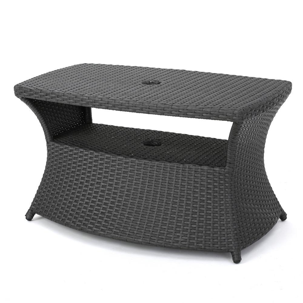 Adrian Grey Wicker Outdoor Side Table