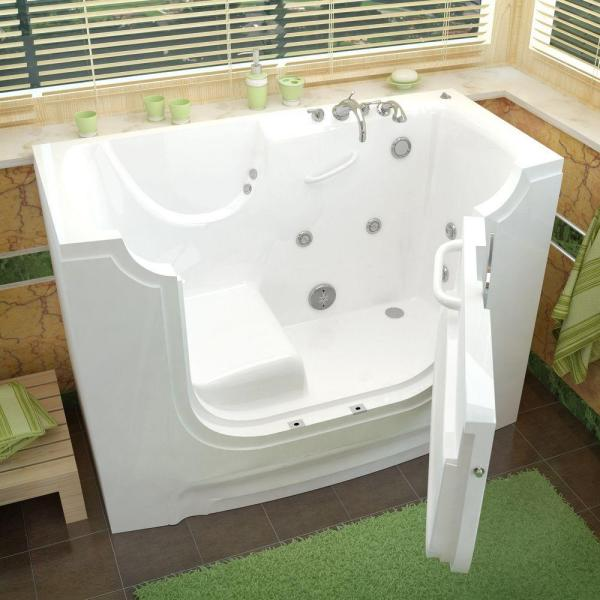 Universal Tubs Hd Series 60 In Right Drain Wheelchair Access Walk In Whirlpool Bath Tub With Powered Fast Drain In White Hd3060wcarwh The Home Depot