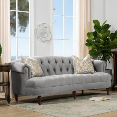La Rosa 85 in. Opal Grey Velvet 3-Seater Chesterfield Sofa with Nailheads
