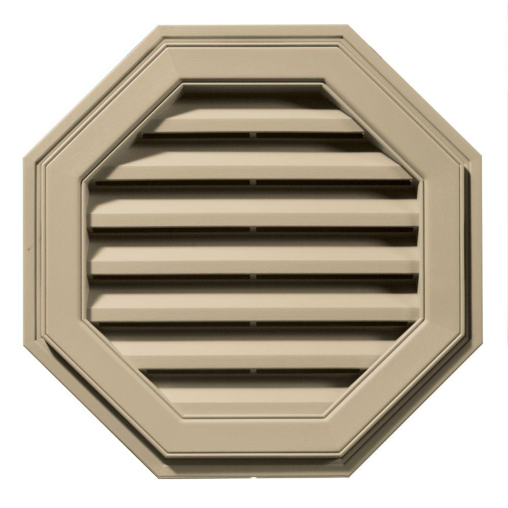 22 in. Octagon Gable Vent in Light Almond