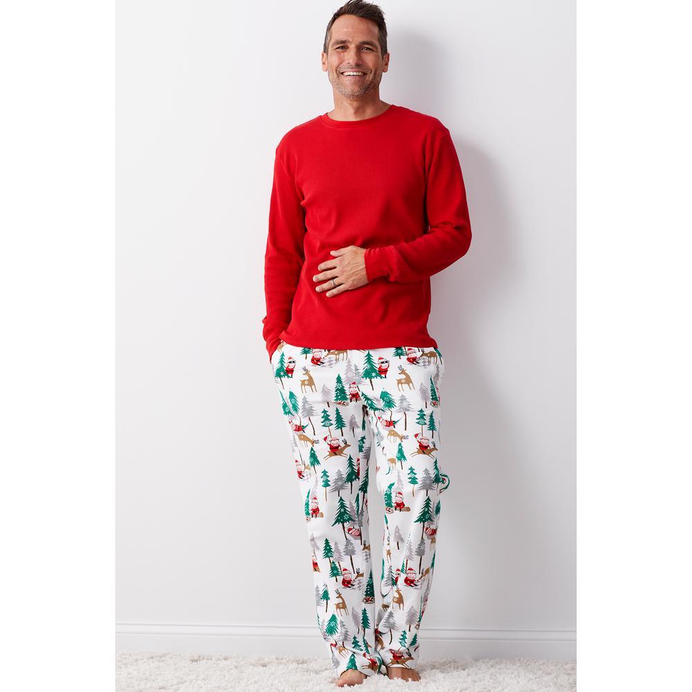 Family Flannel Men's Santa Large 2-Piece Thermal Pajama Set