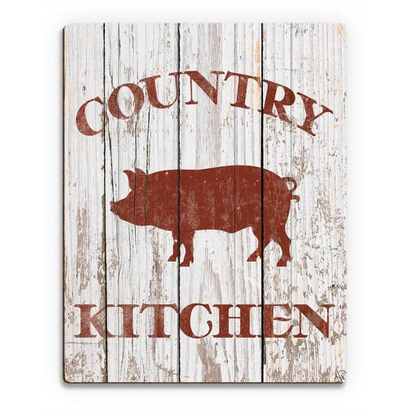 20 In X 24 In Country Kitchen Pig On White Planked Wood Wall Art Print