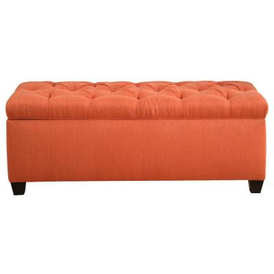 Sean Candice Pumpkin Diamond Tufted Large Storage Bench