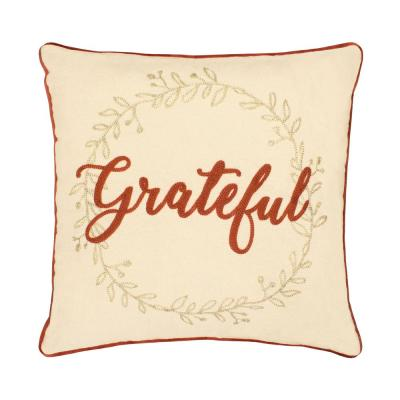 Grateful Embroidered Thanksgiving Polyester Standard Throw Pillow