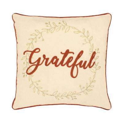 Grateful Embroidered Thanksgiving 18 in x 18 in. Pillow