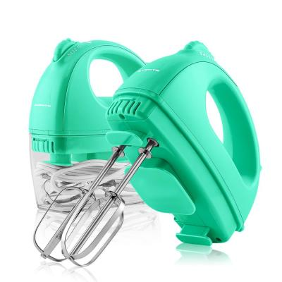 5-Speed Turquoise Portable Electric Hand Mixer with 2 Chrome Beater Attachments and Snap-On Storage Container