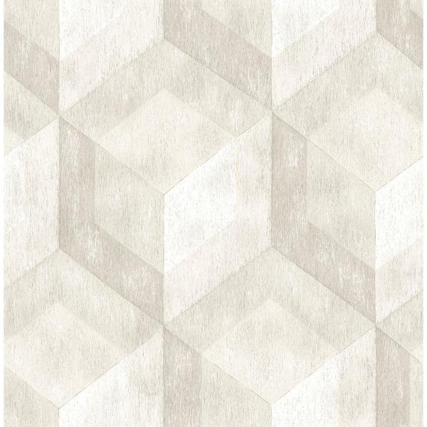Brewster Cream Rustic Wood Tile Geometric Wallpaper