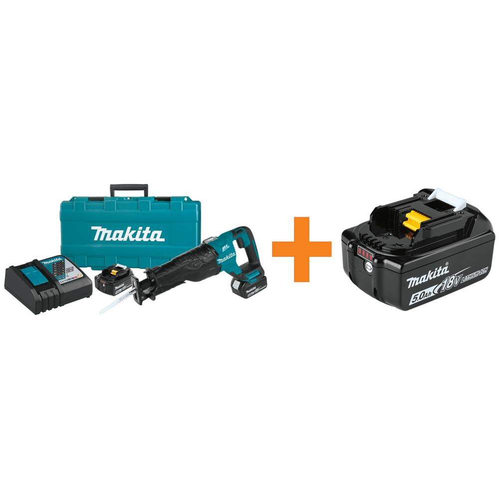 Makita 18-Volt 5 Ah LXT Lithium-Ion Brushless Cordless Recipro Saw Kit with BONUS 18-Volt LXT Lithium-Ion Battery Pack 5 Ah