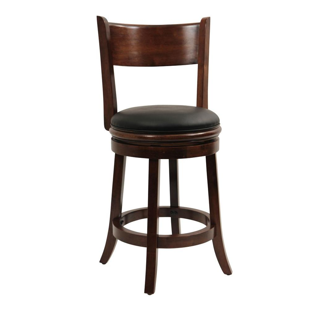 Boraam Palmetto 24 in. Walnut Swivel Cushioned Bar Stool-47124 - The ...
