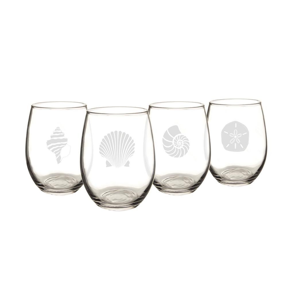 cathy s concepts seashell 21 oz stemless wine glasses sea 1110