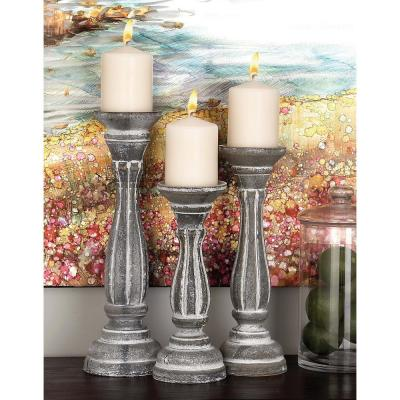 Litton Lane Rustic White Wooden Candle Holders (Set of 3)