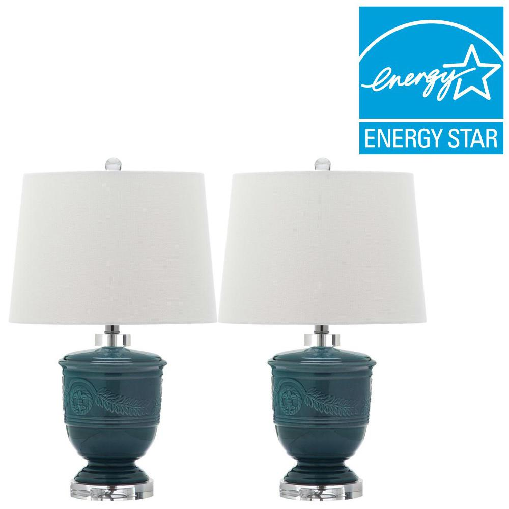 Safavieh Shoal 23 5 In Blue Table Lamp With Off White Shade Set Of