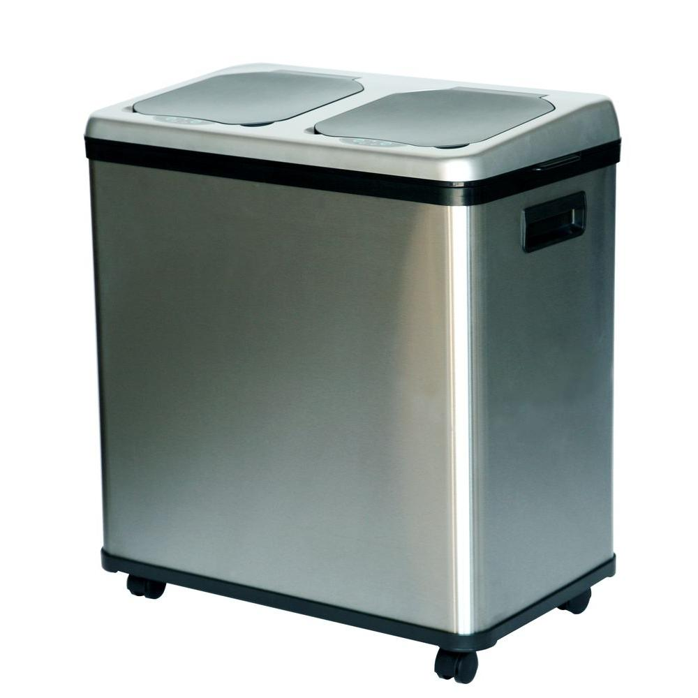 dual compartment stainless steel touchless recycling bin - Stainless Steel Kitchen Trash Can