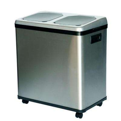 16 Gal. Dual-Compartment Stainless Steel Touchless Recycling Bin