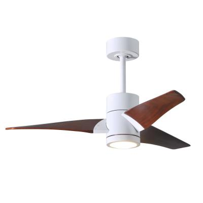 Super Janet 42 in. LED Indoor/Outdoor Damp Gloss White Ceiling Fan with Light with Remote Control, Wall Control