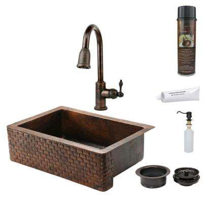 All-in-One Undermount Hammered Copper 33 in. 0-Hole Single Bowl Kitchen Sink with Tuscan Design in Oil Rubbed Bronze