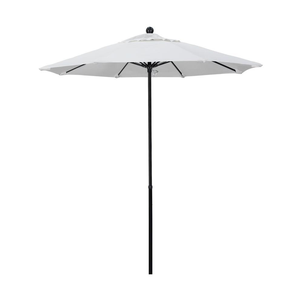 California Umbrella 7.5 ft. Black Complete Fiberglass Market Pulley Open Patio Umbrella in Natural Pacifica