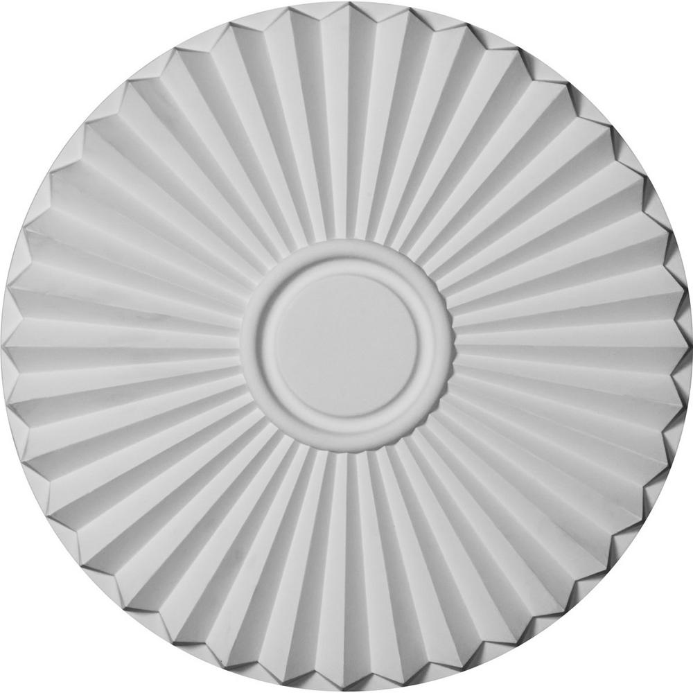 Ekena Millwork 19-3/4 in. x 1-3/8 in. Shakuras Urethane Ceiling Medallion (For Canopies upto 5 in.) Hand-Painted Frost