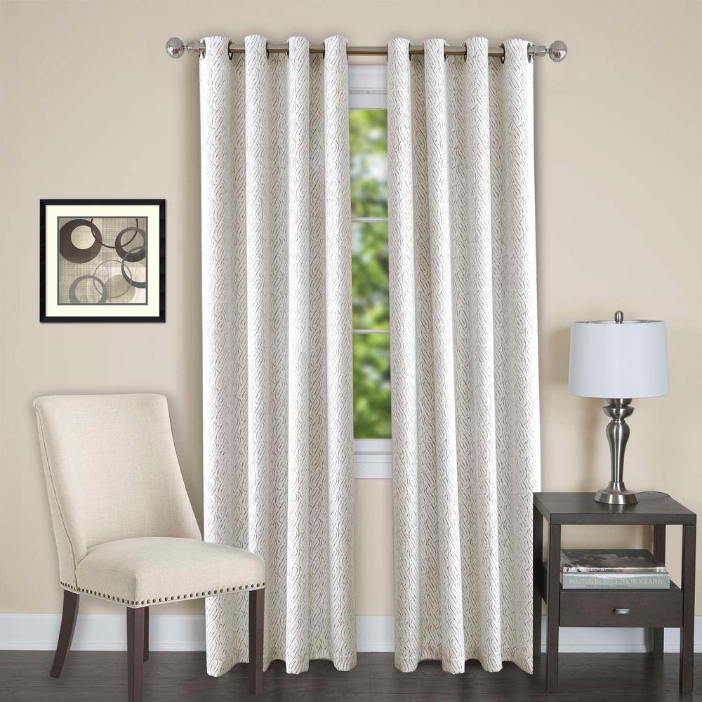 Achim Sheer Jensen White Grommet Window Curtain Panel - 52 inch W x 84 inch L by