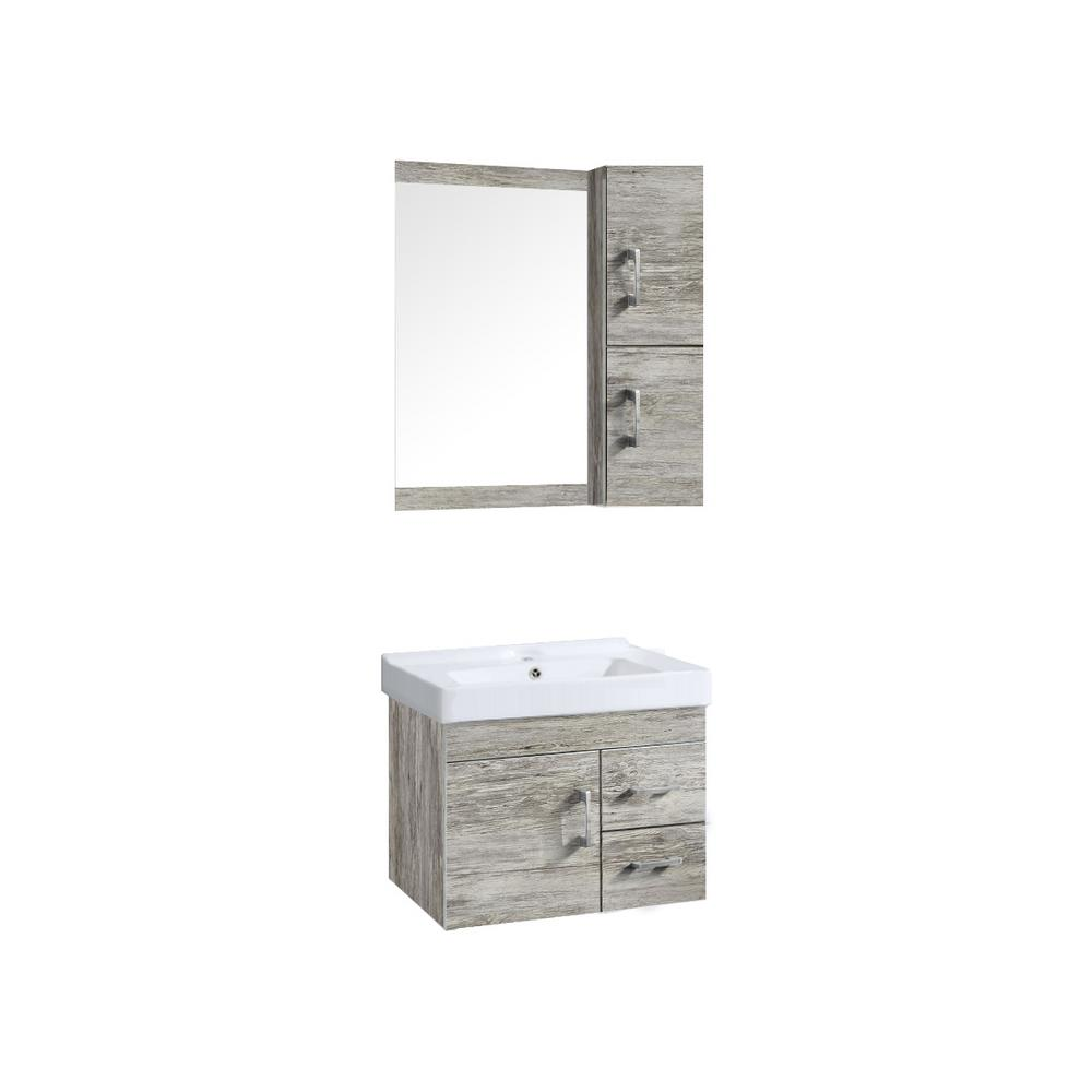 Victoria 24 in. Vanity in Vintage Oak with Ceramic Basin in White and Mirror