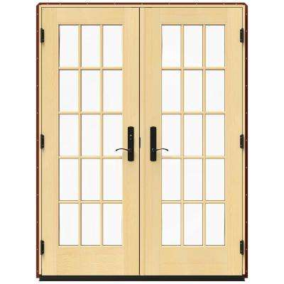 59.25 in. x 79.5 in. W-4500 Mesa Red Right Hand Inswing French Wood Patio Door