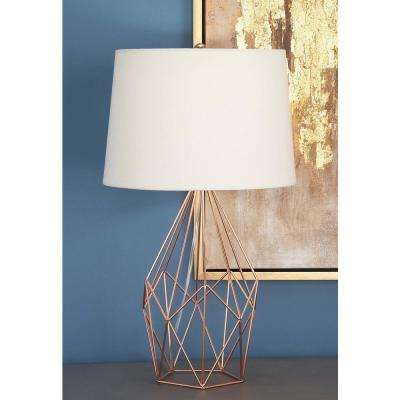 Copper-Finished Asymmetrical Table Lamp