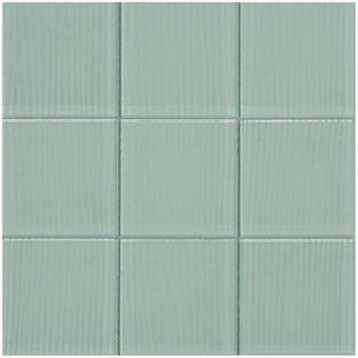 Shilla/03, Shiny White with Brushed Texture, 12 in. x 12 in. x 4 mm Glass Mesh-Mounted Tile (20 sq. ft. / case)