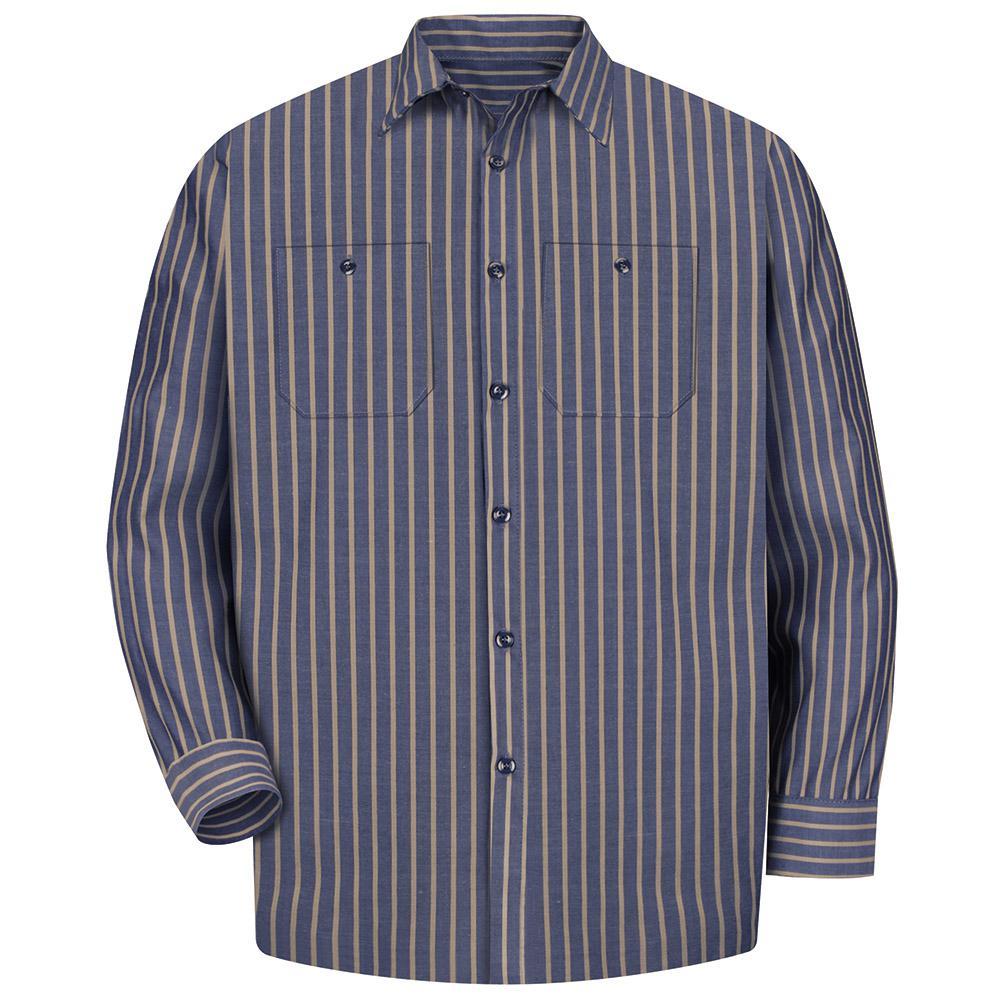 635b0a584e Red Kap Men s Size 2XL Navy   Khaki Stripe Long-Sleeve Work Shirt ...