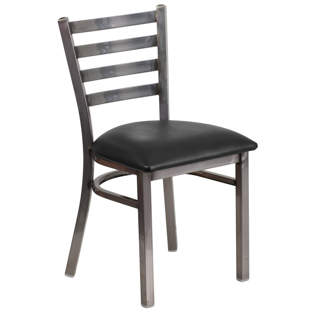 Flash Furniture Hercules Series Clear Coated Ladder Back Metal Restaurant  Chair With Black Vinyl Seat
