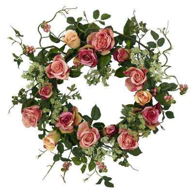 20.0 in. H Peach Rose Wreath