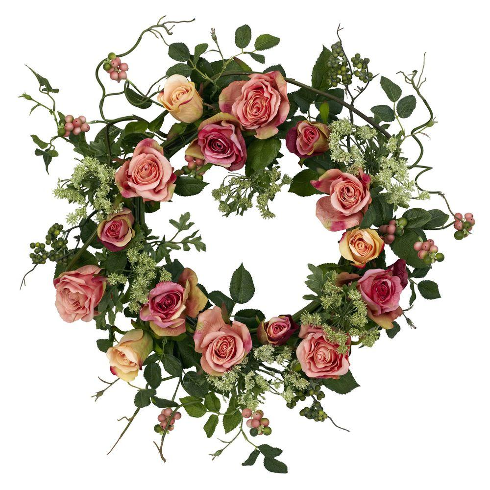 Nearly Natural 20.0 in. H Peach Rose Wreath