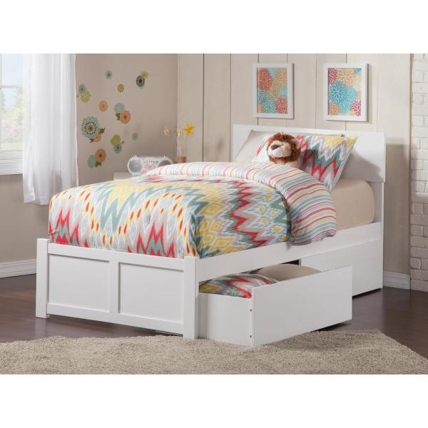 Atlantic Furniture Orlando White Twin Xl Platform Bed With Flat Panel Foot Board And 2 Urban Bed Drawers Ar8112112 The Home Depot