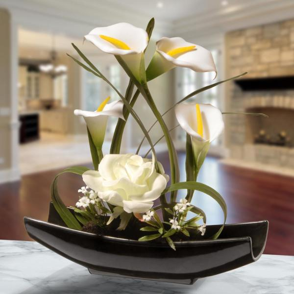 National Tree Company 11 In White Rose And Calla Lily Flowers