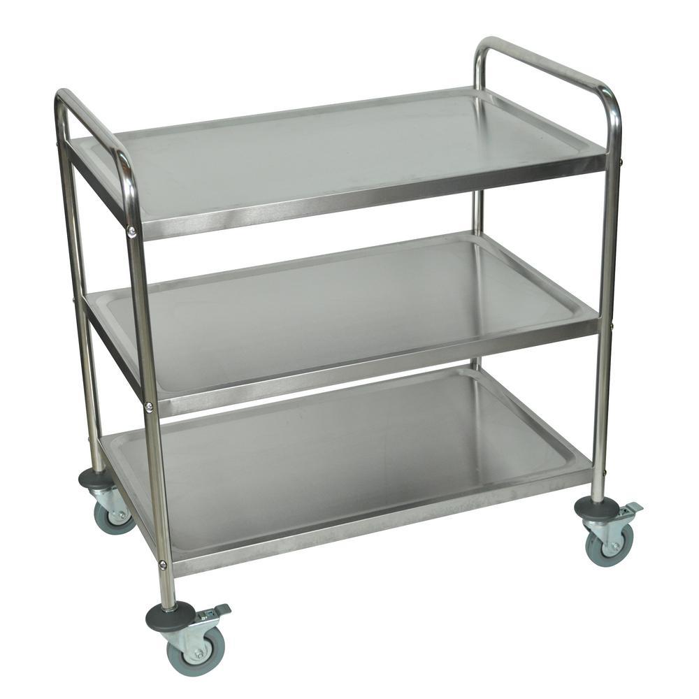 33 in. x 21 in. 3-Shelf Stainless Steel Cart in Silver