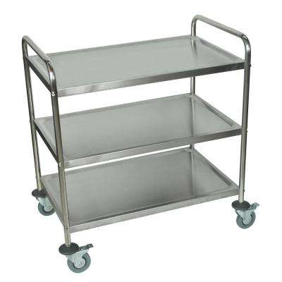 33 in. x 21 in. 3-Shelf Stainless Steel Cart in Silver