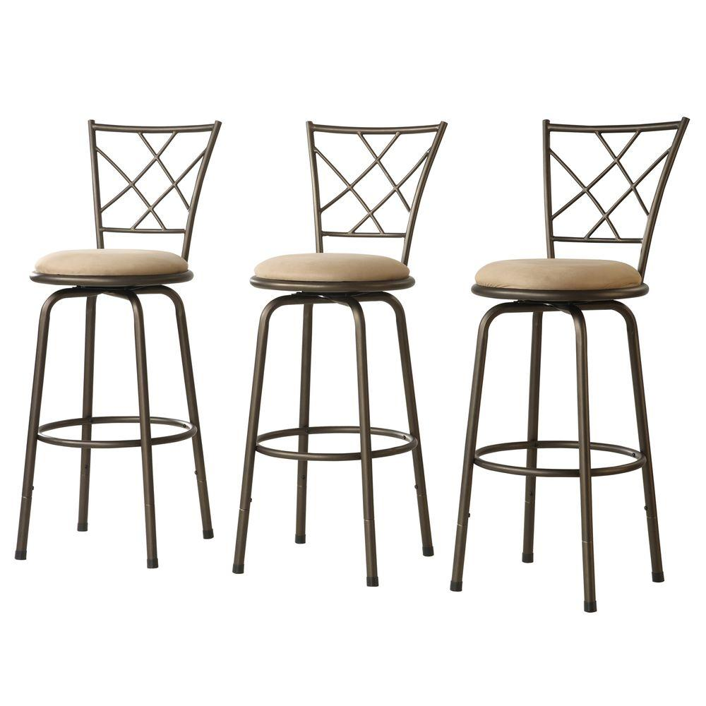 Awesome Adjustable Height Brown Swivel Cushioned Bar Stool Set Of 3 Theyellowbook Wood Chair Design Ideas Theyellowbookinfo