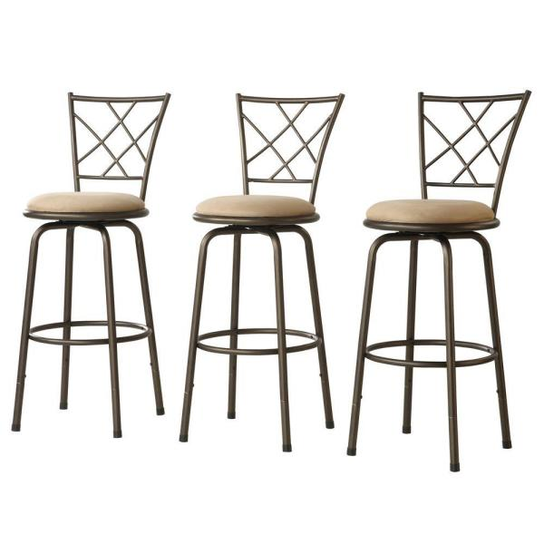 Adjustable Height Brown Swivel Cushioned Bar Stool (Set of 3) 40855C971W(3A)