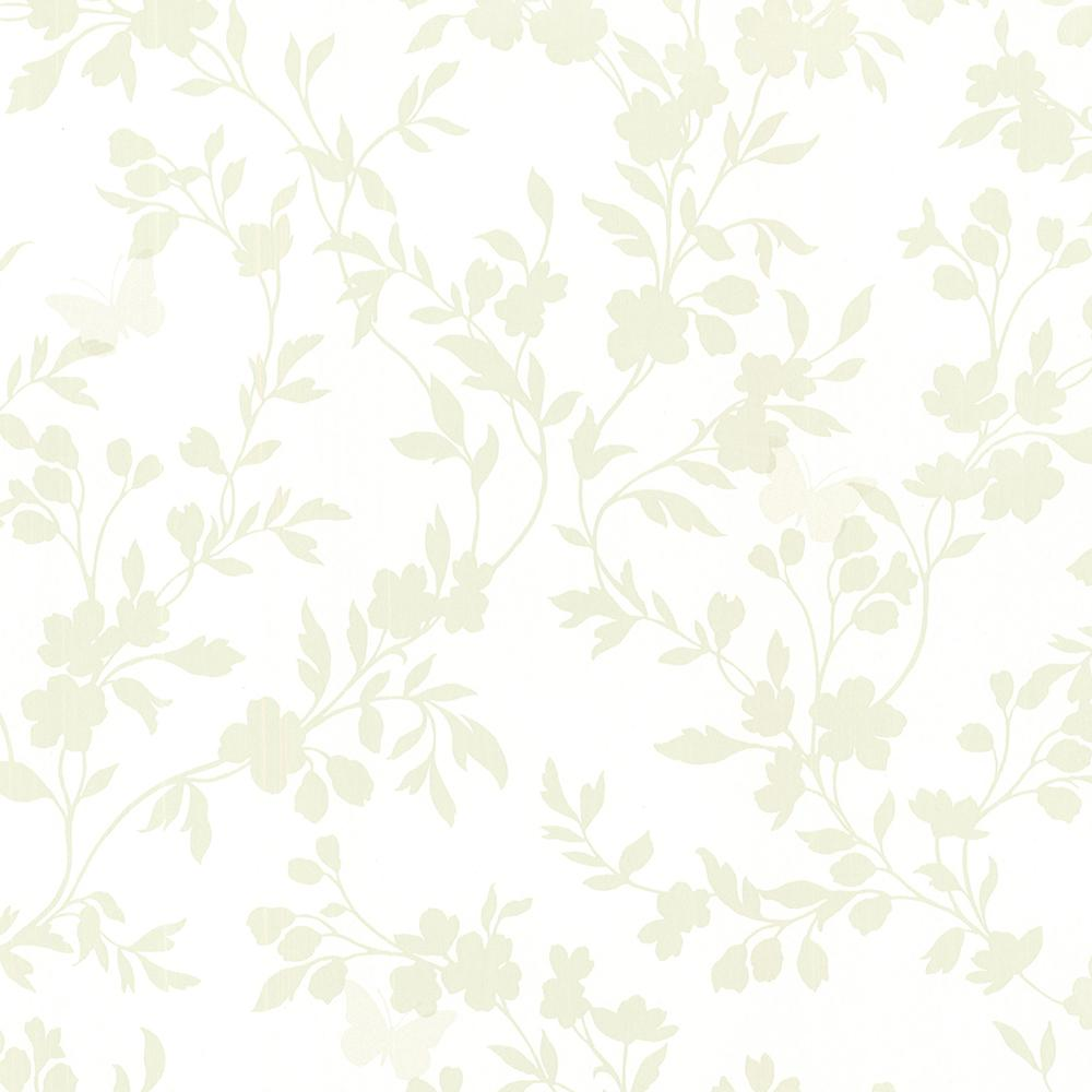 56.4 sq. ft. Layla Light Green Floral Trail Silhouette Wallpaper