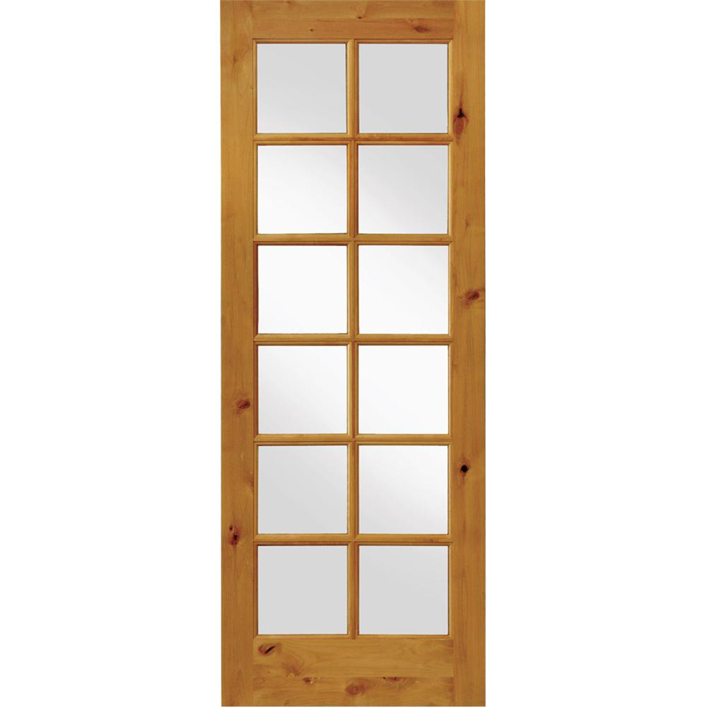 Krosswood Doors 32 in. x 96 in. Rustic Knotty Alder 12-Lite Clear Glass Unfinished Wood Front Door Slab