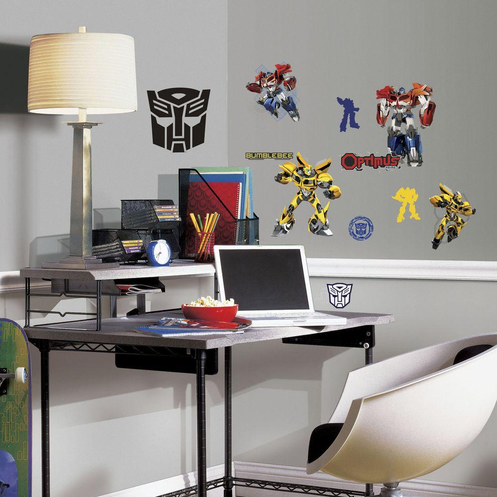 11.5 in. Multi Color Transformers Autobots Peel and Stick Wall Decals