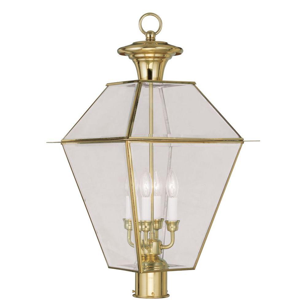 Livex Lighting Providence 4-Light 15.25 in. Polished Brass Outdoor Post Head Lantern