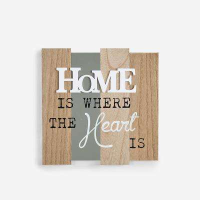 Inspirational Home Is Where The Heart Is Wooden Wall Plaque Sign
