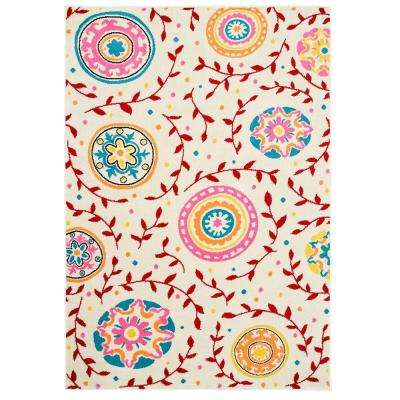 Whimsical Cream/Red 3 ft. 6 in. x 5 ft. 6 in. Indoor Area Rug