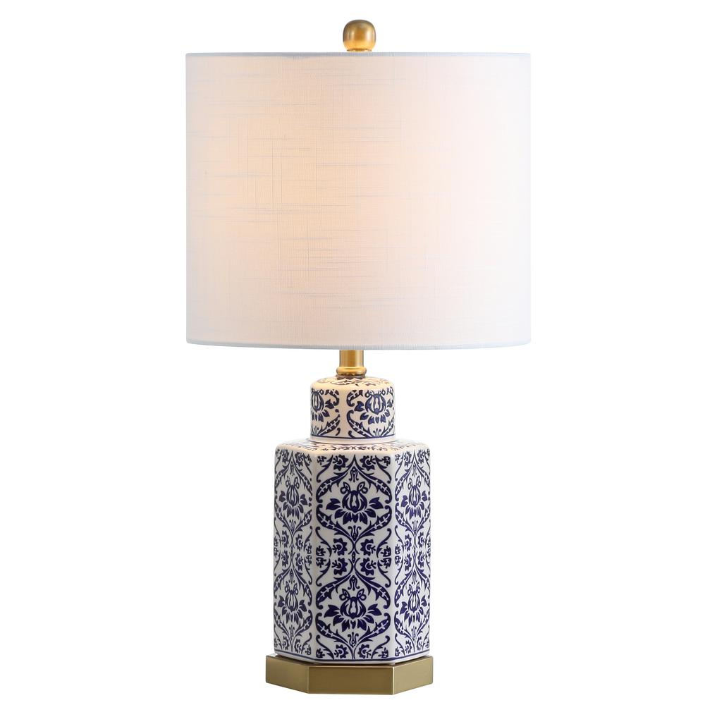 Ginger Jar Ceramic Metal Led Table Lamp Blue White