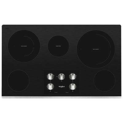 36 in. Radiant Electric Ceramic Glass Cooktop in Stainless Steel with 5 Elements Including 2-Dual Radiant Elements