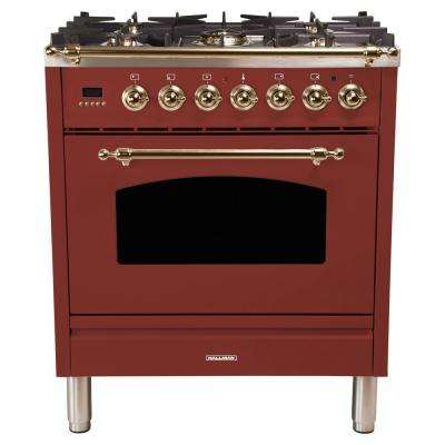 30 in. 3.0 cu. ft. Single Oven Italian Gas Range with True Convection, 5 Burners, Bronze Trim in Burgundy