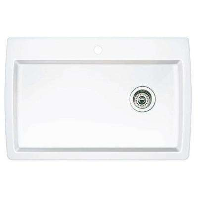 Diamond Dual Mount Granite Composite 32.5 in. 1-Hole Super Single Bowl Kitchen Sink in White