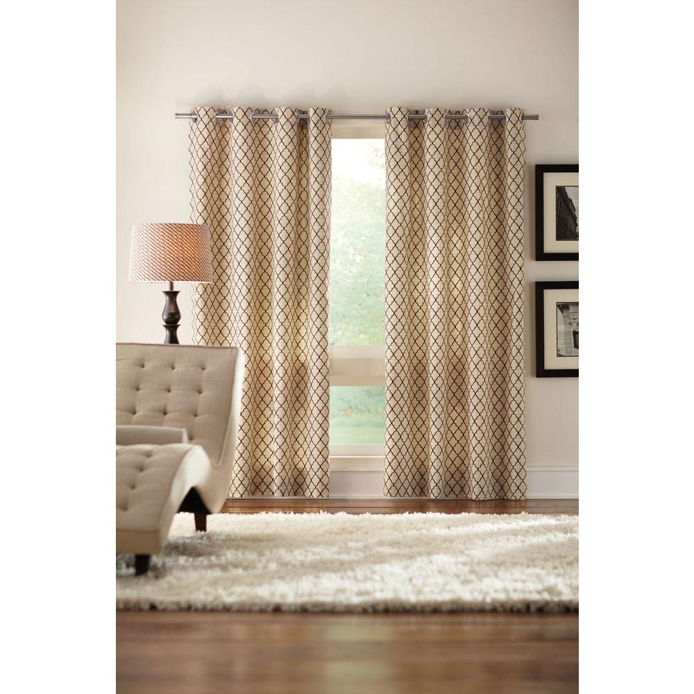 Home Decorators Collection Semi Opaque Cream Ogee Grommet Curtain 1623951 The Home Depot